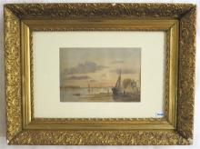 EUROPEAN WATERCOLOR ON PAPER, river landscape with
