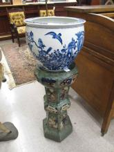 CHINESE POTTERY PEDESTAL AND PORCELAIN PLANTER.  A