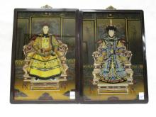 CHINESE EMPEROR AND EMPRESS PAINTINGS ON GLASS,  i