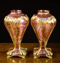 PAIR OF ART NOUVEAU STUDIO ART GLASS VASES
