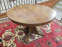 STICKLEY ROUND OAK PEDESTAL DINING TABLE WITH TWO