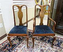 A SET OF SIX QUEEN ANNE STYLE MAHOGANY DINING CHAI