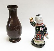 CHINESE PORCELAIN FIGURAL SCULPTURE AND A POTTERY