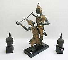 THAI BRONZE FIGURAL GROUP AND TWO BRONZE HEADS,  t