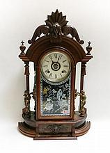 VICTORIAN WALNUT SHELF CLOCK,