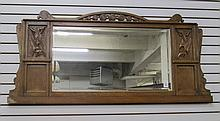 CARVED OAK OVERMANTEL MIRROR, American or English,