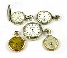 FIVE AMERICAN POCKET WATCHES: 1) Waltham coin silv