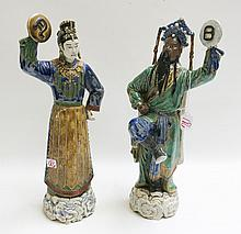 PAIR CHINESE POTTERY FIGURAL SCULPTURES, male and