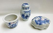 THREE SMALL CHINESE BLUE UNDERGLAZE PORCELAINS