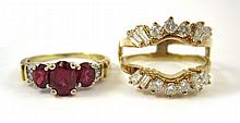 RUBY AND DIAMOND RING WITH DIAMOND RING GUARD. The