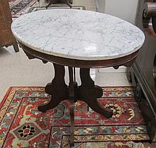 VICTORIAN MARBLE-TOP WALNUT LAMP TABLE, American,