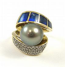 TAHITIAN BLACK PEARL, OPAL AND DIAMOND RING. The 1