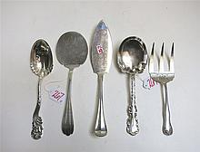 FIVE ASSORTED STERLING SILVER FLATWARE comprised o