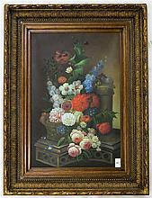A STILL LIFE PAINTING ON CANVAS, a basket of Sprin