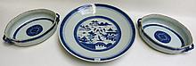 THREE CHINESE BLUE AND WHITE PORCELAIN SERVING PIE