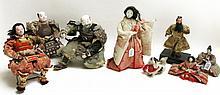 SEVEN JAPANESE CLOTH DOLLS depicting Samurai warri