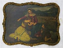 HOLY FAMILY OIL ON CANVAS LAID ON BOARD, Madonna a