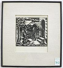 PAL C. MOLNAR WOODCUT (Hungary, 1894-1981) Biblica