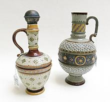 TWO METTLACH POTTERY VESSELS: ewer, # 1772, with m