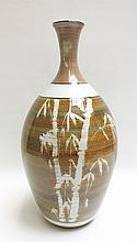 STUDIO ART POTTERY VASE having bamboo motif, signe