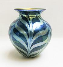 LUNDBERG STUDIOS IRIDESCENT ART GLASS VASE, Royal