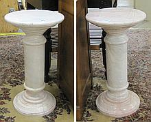 A PAIR OF ITALIAN PINK PERLINO MARBLE PEDESTALS. D