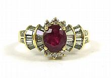 RUBY, DIAMOND AND EIGHTEEN KARAT GOLD RING, with r