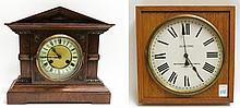 TWO OAK CASE CLOCKS: 1) square electric wall clock