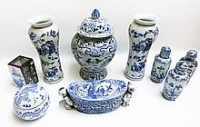 NINE CHINESE BLUE AND WHITE PORCELAINS