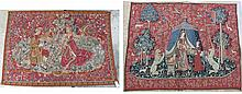 TWO PICTORIAL WALL TAPESTRIES: 1)