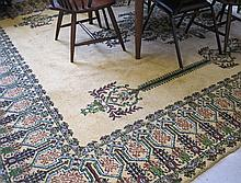 HAND KNOTTED MOROCCAN CARPET, central floral medal