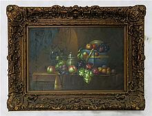 STILL LIFE OIL ON CANVAS PAINTING, 24 x 36 inches,