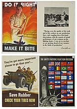 FOUR WWII POSTERS: