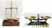 TWO ANTIQUE BALANCE SCALES: 1) brass equal-arm bea