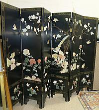 CHINESE SIX-PANEL FLOOR SCREEN, one side featuring