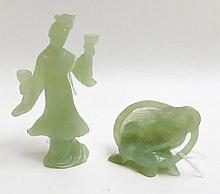 TWO CHINESE CARVED JADE FIGURAL SCULPTURES, one  o