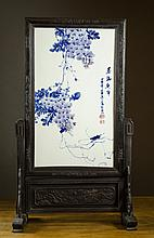 CHINESE PORCELAIN AND CARVED WOOD TABLE SCREEN,  t