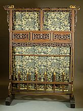 CARVED AND PARCEL GILT ROSEWOOD FLOOR SCREEN/HALLS