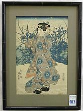 UTAGAWA KUNISADA WOODCUT (Japan, 1786-1865) Woman