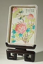 CHINESE FAMILLE ROSE PORCELAIN PLAQUE AND PLINTH