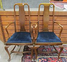 A PAIR OF QUEEN ANNE STYLE OAK ARMCHAIRS, English,
