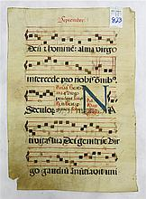 18TH CENTURY ANTIPHONARIUM VELLUM LEAF in Latin, S