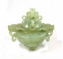 CHINESE CARVED JADE FOOTED URN, having dragon head