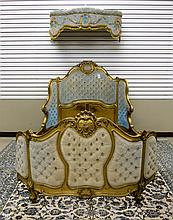 LOUIS XV STYLE CARVED AND UPHOLSTERED GILTWOOD BED