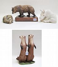 FOUR BISQUE PORCELAIN ANIMAL FIGURES, the first  o