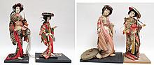 FOUR JAPANESE CLOTH DOLLS depicting standing Geish