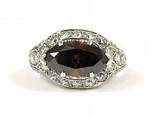 FANCY COLOR DIAMOND AND PLATINUM RING, with colorl