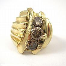 COGNAC DIAMOND AND FOURTEEN KARAT GOLD RING, set w