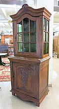 CARVED OAK CABINET ON CABINET, Dutch, late 18th/ea