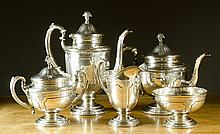 FIVE PIECE TOWLE STERLING COFFEE & TEA SET, in the